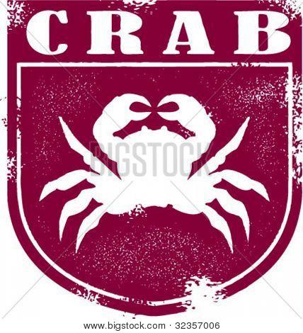 Vintage Style Crab Seafood Stamp