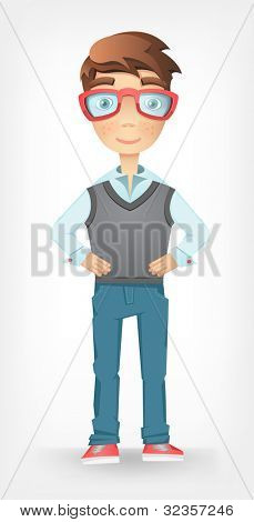 Cartoon Character Guy Isolated on Grey Gradirnt Background. Vector.