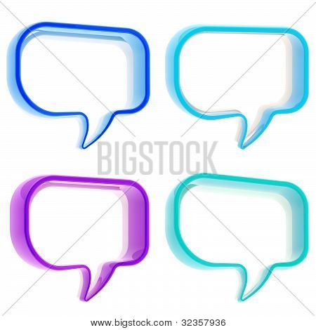 Set of four text bubbles