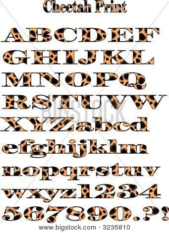 Vector Cheetah Pattern Alphabet Print.Eps