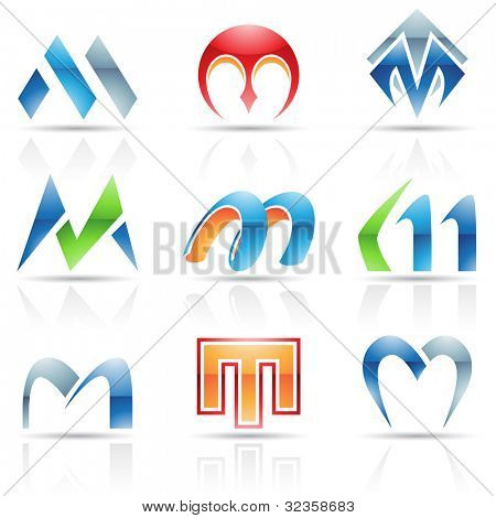 Vector illustration of abstract icons based on the letter M