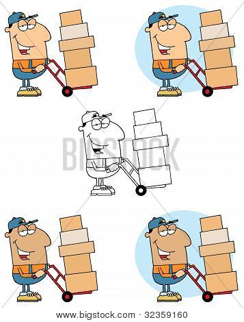 Delivery Man Using A Dolly To Move Boxes