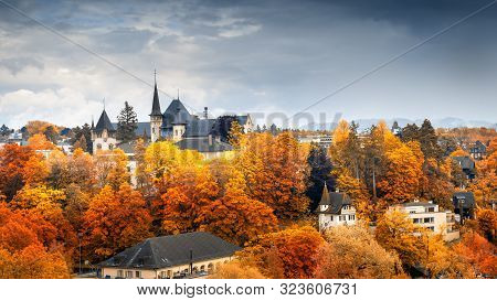 poster of Cityscape Historical Architecture Building Of Bern At Autumn Season, Switzerland, Capital City Lands