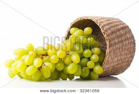 White Grapes In A Wicker Basket