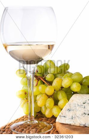 White Wine, Blue Cheese And Grapes
