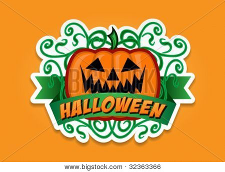 Halloween Pumpkin Vector Sticker