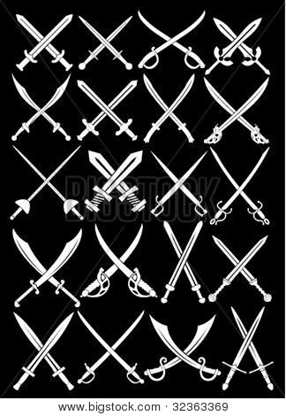 Crossed Swords Vectors Collection in Black Background