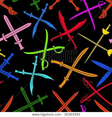 Crossed Swords Vector Seamless Pattern Colorful