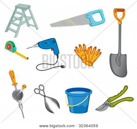 Illustrated set of common tools