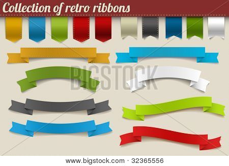 Set of colorful vector retro ribbons and tags