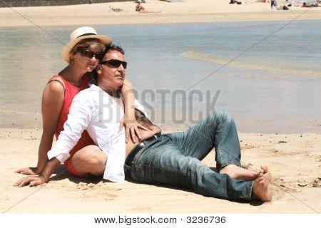 Romantic Senior Couple On The Beach