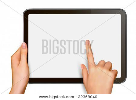 Finger touching digital tablet screen. Raster version of vector.