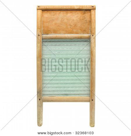 Madera vintage y lavadero de ropa de vidrio aislado