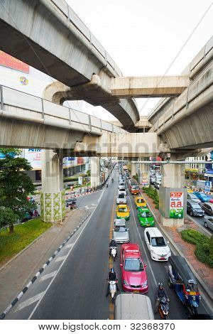 Bangkok Traffic Skytrain Above