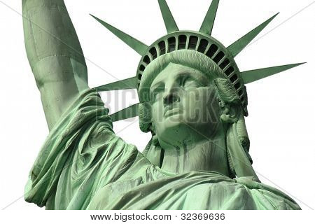 Isolated close up of New York's Statue of Liberty.