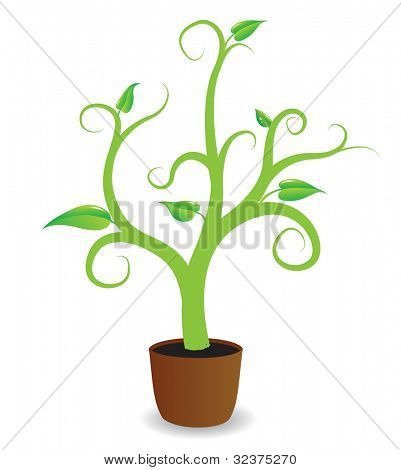 A potted plant beginning to grow, vector
