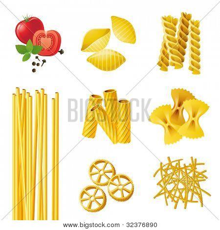 7 different pasta types . EPS 10