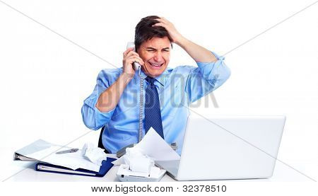 Busy businessman with laptop computer. Isolated on white background.