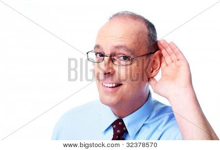 Deaf man. Isolated on white background.
