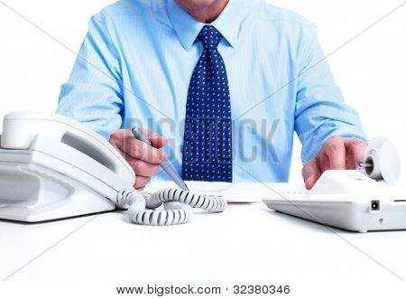 Accountant businessman. Isolated on white background.