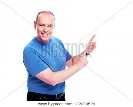 Happy elderly man showing the copyspace. Isolated over white background.