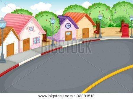 Bairro de estilo cartoon junto à estrada