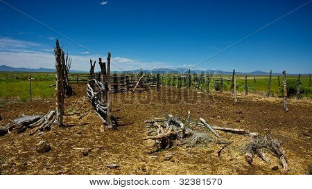 Old West Wooden Horse Corral