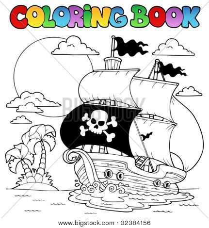Coloring book with pirate theme 7 - vector illustration.