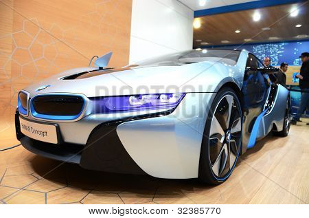 GENEVA - MARCH 12: BMW i8 Concept on display at 82nd International Motor Show on March 12, 2012 in Geneva, Switzerland