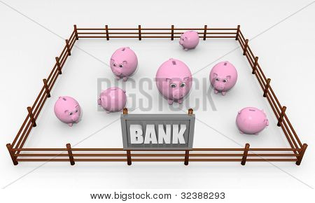 Bank concept, image with piggy banks