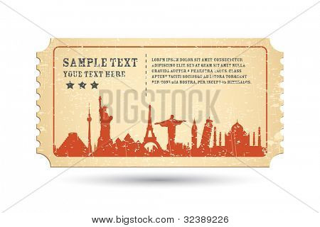 illustration of famous monument around the world on ticket
