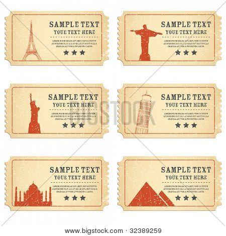 Ilustración del billete para el famoso monumento de mundo diferente