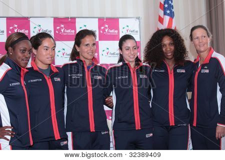 KHARKIV, UKRAINE - APRIL 19: US Fed Cup team before Tie between USA and Ukraine in Superior Golf & Spa Resort, Kharkiv, Ukraine at April 19, 2012