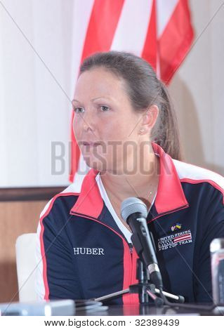 KHARKIV, UKRAINE - APRIL 19: Liezel Huber at the press-conference before Fed Cup Tie between USA and Ukraine in Superior Golf & Spa Resort, Kharkiv, Ukraine at April 19, 2012