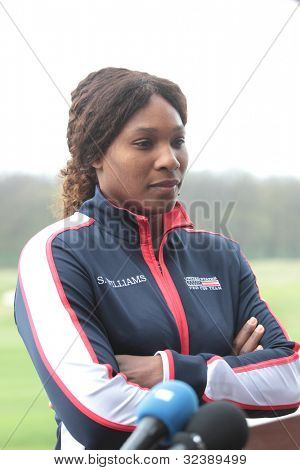 KHARKIV, UKRAINE - APRIL 19: Serena Williams talk to press during Fed Cup Tie between USA and Ukraine in Superior Golf & Spa Resort, Kharkiv, Ukraine at April 20, 2012
