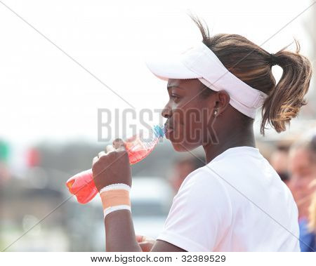 KHARKIV, UKRAINE - APRIL 19: Sloane Stephens during training play on Fed Cup Tie between USA and Ukraine in Superior Golf & Spa Resort, Kharkiv, Ukraine at April 19, 2012