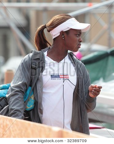 KHARKIV, UKRAINE - APRIL 19: Sloane Stephens before training during Fed Cup Tie between USA and Ukraine in Superior Golf & Spa Resort, Kharkiv, Ukraine at April 19, 2012