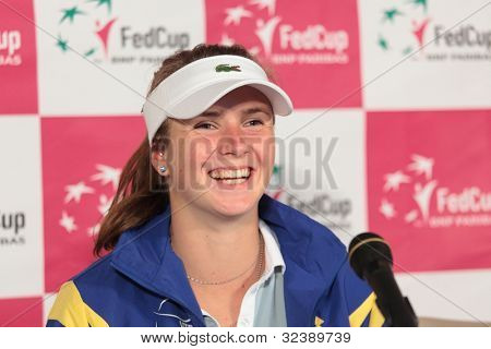 KHARKOV, UKRAINE - APRIL 21: Elina Svitolina on the press-conference after her debut during Fed Cup tie between USA and Ukraine in Superior Golf & Spa Resort, Kharkov, Ukraine at April 21, 2012