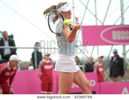 KHARKOV, UKRAINE - APRIL 21: Match between Serena Williams and Elina Svitolina (pictured) during Fed Cup tie between USA and Ukraine in Superior Golf & Spa Resort, Kharkov, Ukraine at April 21, 2012