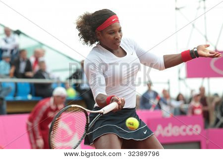 KHARKOV, UKRAINE - APRIL 21: Match between Serena Williams (pictured) and Elina Svitolina during Fed Cup tie between USA and Ukraine in Superior Golf & Spa Resort, Kharkov, Ukraine at April 21, 2012
