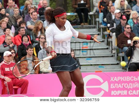 KHARKOV, UKRAINE - APRIL 22: Match between Serena Williams and Lesia Tsurenko during Fed Cup tie between USA and Ukraine in Superior Golf and Spa Resort, Kharkov, Ukraine at April 22, 2012