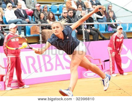 KHARKOV, UKRAINE - APRIL 22: Match between Serena Williams and Lesia Tsurenko (pictured) during Fed Cup tie between USA and Ukraine in Superior Golf and Spa Resort, Kharkov, Ukraine at April 22, 2012
