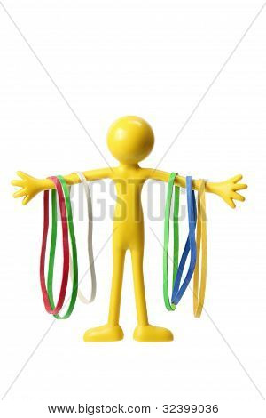 Miniature Figure With Rubber Bands