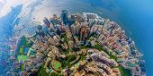 Aerial Top View Of Hong Kong Downtown, Republic Of China. Financial District And Business Centers In poster