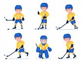 Set Of Boy Hockey Player Playing With A Stick And Puck In Different Poses. Child Plays Professional  poster