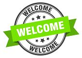 Welcome Label. Welcome Green Band Sign. Welcome poster