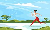 Athletic Woman Sprinter Running. Beautiful Woman In Sportswear. Sport Motivation And Healthy Lifesty poster