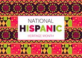 National Hispanic Heritage Month Celebrated From 15 September To 15 October Usa. Latino American Orn poster