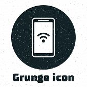Grunge Smartphone With Free Wi-fi Wireless Connection Icon Isolated On White Background. Wireless Te poster
