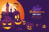 Halloween Night Party Invitation Poster Design. Halloween Illustration With Scary Pumpkins, Castle I poster